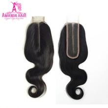 Аманда перуанские Ким К закрытие тела волнистые волосы 2x6 средняя часть кружева Закрытие 130% Плотность предварительно сорвал натуральный волос