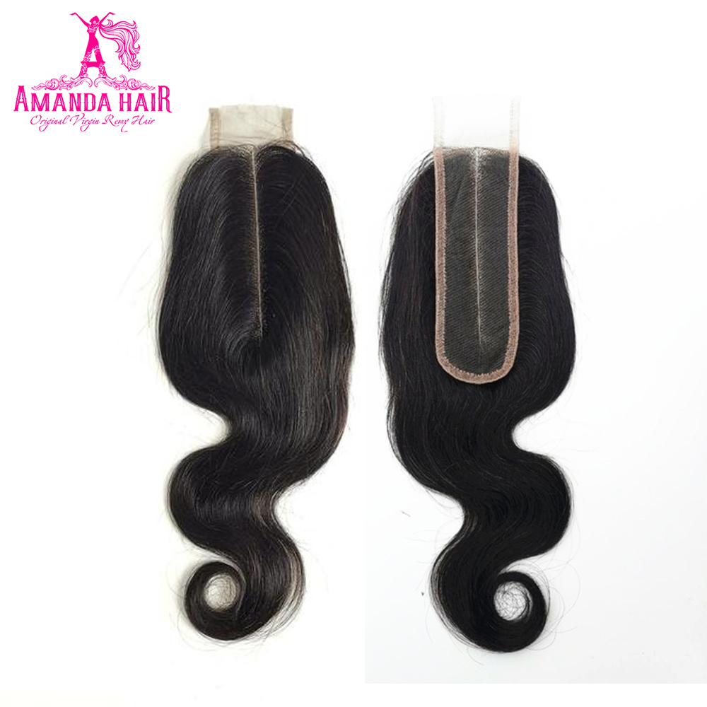 Amanda Peruvian Kim K Closure Body Wave Remy Hair 2x6 Middle Part Lace Closure 130% Density Pre Plucked Natural Hairline