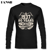 1937 Year 80 Years Of Being Awesome T Shirt Men Boy Long Sleeve Round Neck Cotton