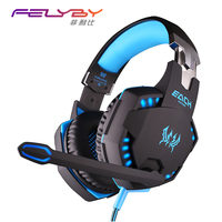 FELYBY G2100 Vibration Function Professional Gaming Headphones Games Headset with Mic Stereo Bass LED Light for PC Gamer