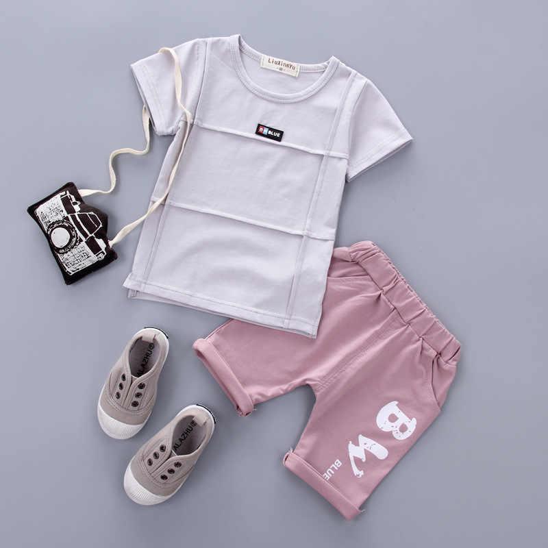 เด็กชุดสูทแขนสั้น 2018 ฤดูร้อนเด็กเกาหลี 1-2-3-4 ปีหญิงหญิง T เสื้อกางเกงขาสั้นสองชุด