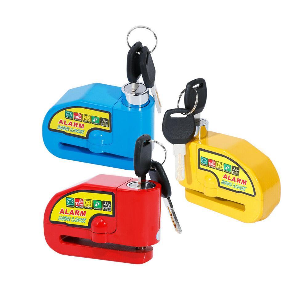 Motorcycle Blue/Red/Yellow Security Anti-theft Alarm Disc Brake Lock 2 Keys Motorcycle Lock