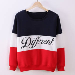Autumn Spring Women Hoodies Patchwork Sweatshirt Fleece Tracksuits Long Sleeve O-neck Pullover Tops SSA-19ING