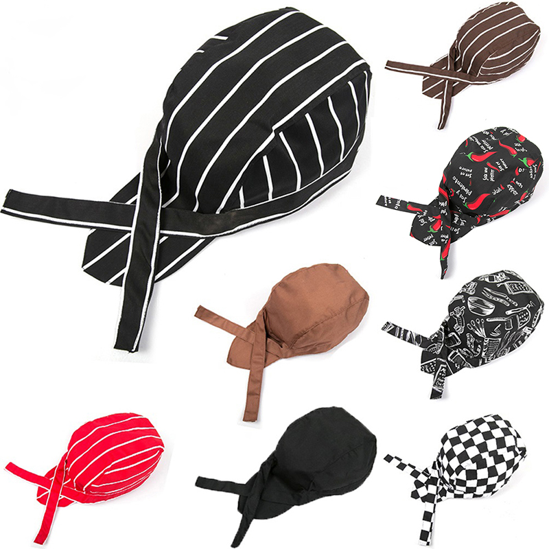 Diganmei Fashion Printing Black Restaurant Kitchen Chef Waiter Hat Pirate Cap Turban Caps Fast Food Cap