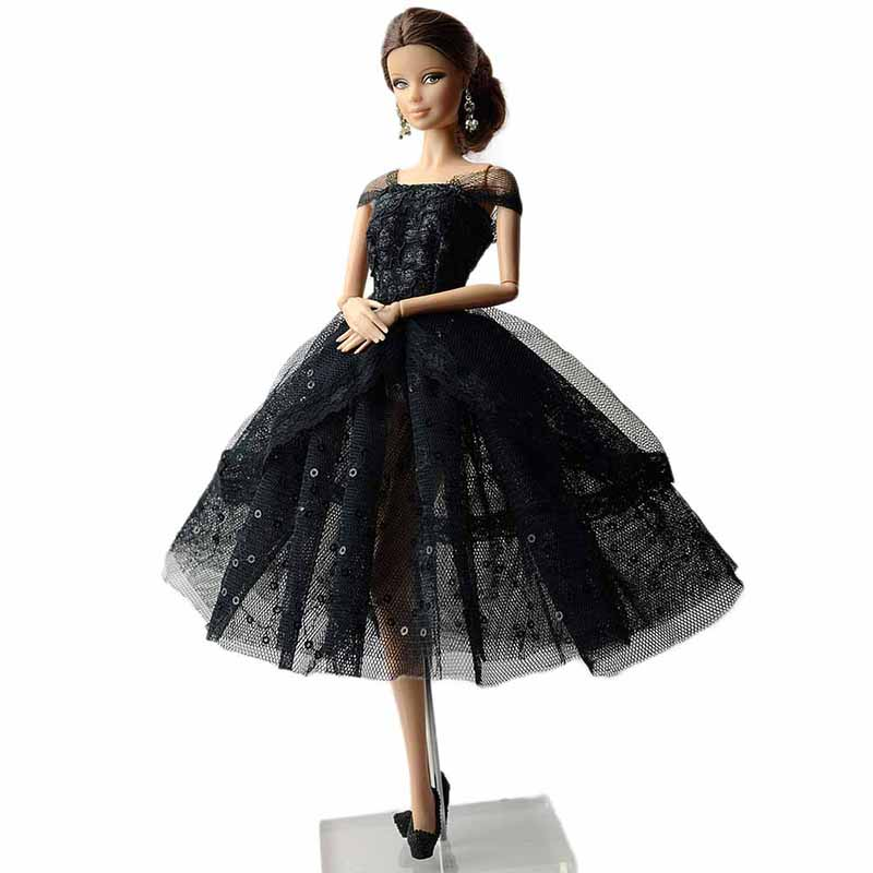11 Doll Party Princess Dress Fashion Black Lace Shiny Wedding Dress Lovely Dance Ballet Gown Dresses Cloth for Girls Doll Toy princess poppy ballet shoes