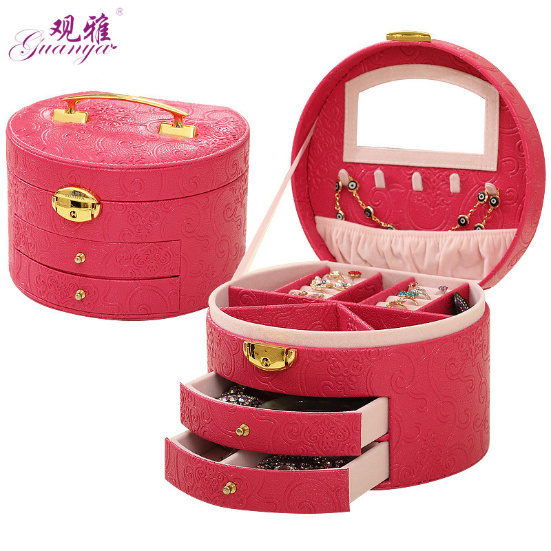 Fashionable 2018 Classical Round Pattern Leather Jewelry Box With Mirror And Lock Large Space Jewelry Casket Earrings 5 Color marulong s0002 women s fashionable flower pattern short sleeved nightdress green multi color