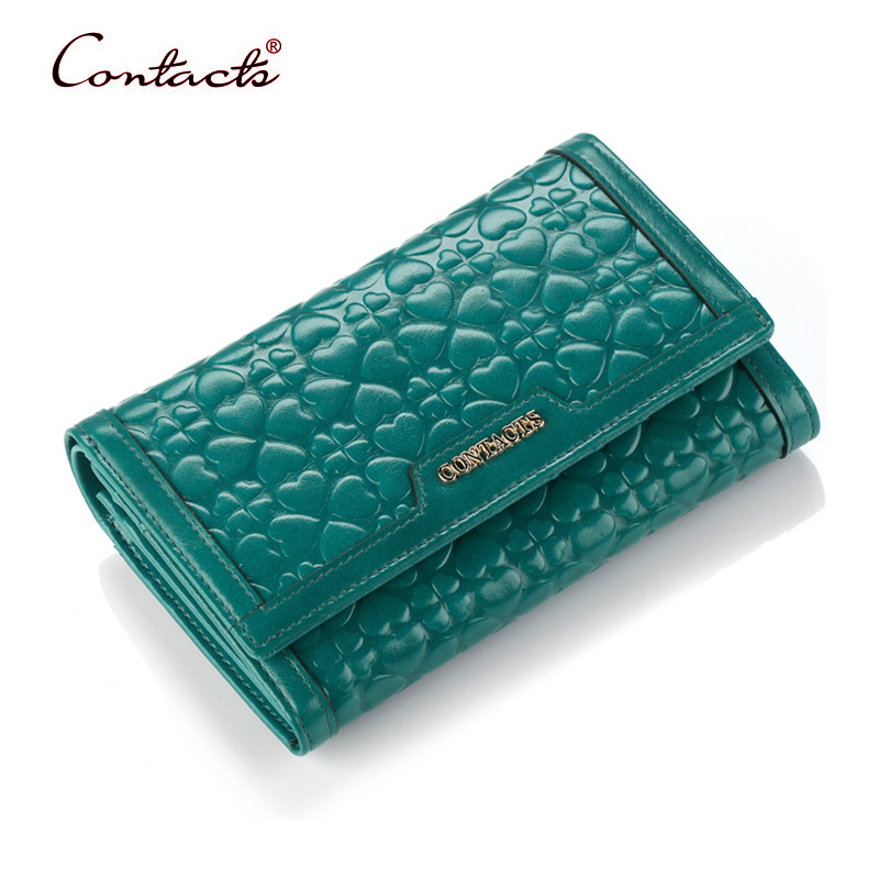 CONTACT'S Women Wallet Genuine Leather Female Purse Card Holder Wallets Coin Pockets Handy Purses Ladies Fashion Brand 2017 New bemoreal genuine leather women wallets lady clutches card holder female zipper wallet fashion brand coin keeper sweet long purse