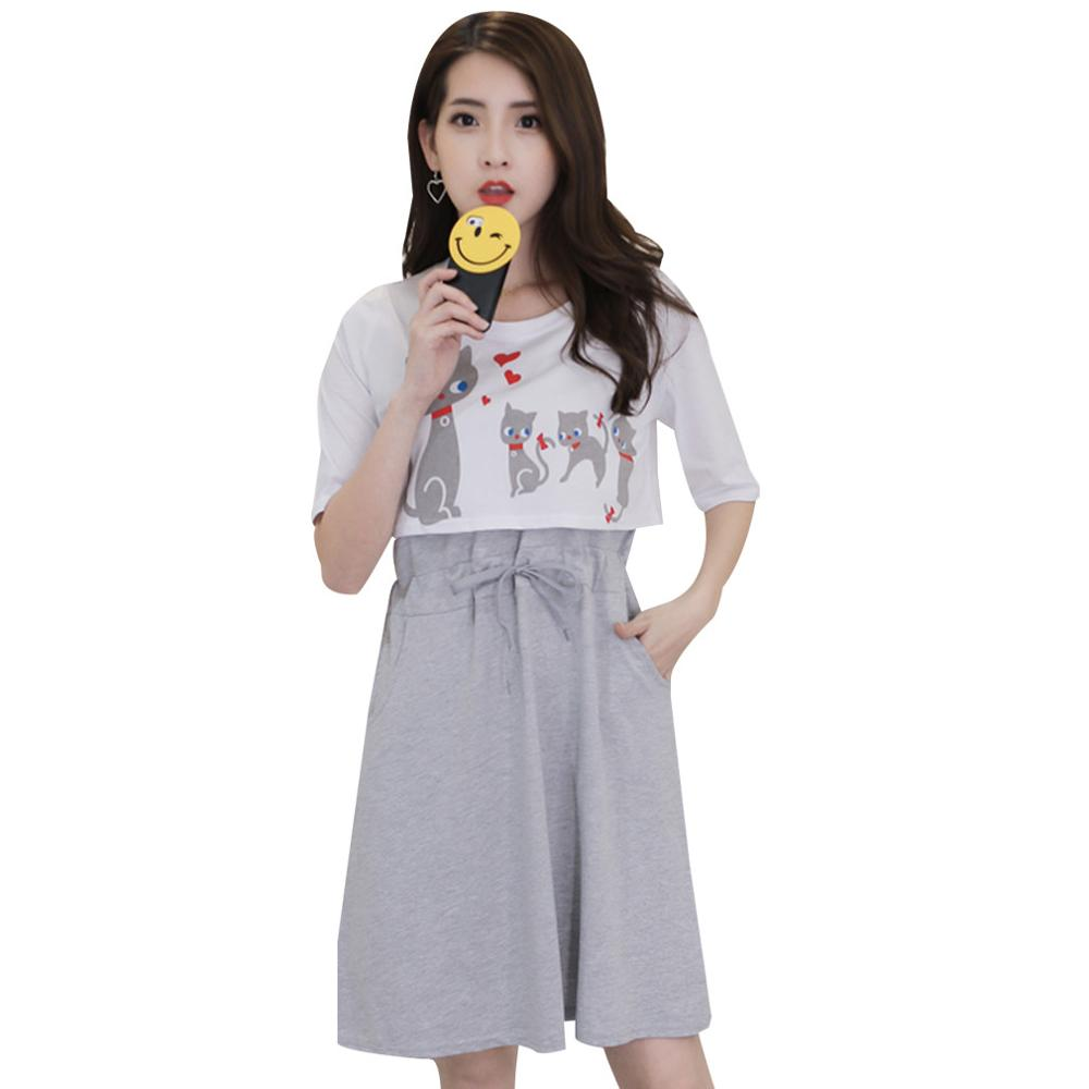 Popular maternity clothes cat buy cheap maternity clothes cat lots 2017 summer cute cat print breastfeeding dress two pieces nursing clothes for pregnant women short sleeve ombrellifo Choice Image