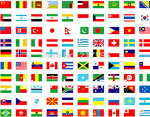 National flags Complete set of whole world 200 country or region flags 14*21 cm polyester material with plastic poles