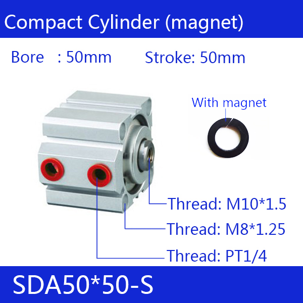 SDA50*50-S, 50mm Bore 50mm Stroke Compact Air Cylinders SDA50X50-S Dual Action Air Pneumatic CylinderSDA50*50-S, 50mm Bore 50mm Stroke Compact Air Cylinders SDA50X50-S Dual Action Air Pneumatic Cylinder