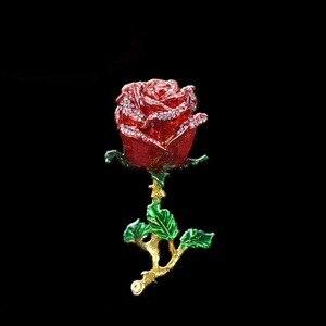 Image 2 - QIFU الحرف اليدوية Romanticred روز شكل مجوهرات وصيفه الشرف هدية