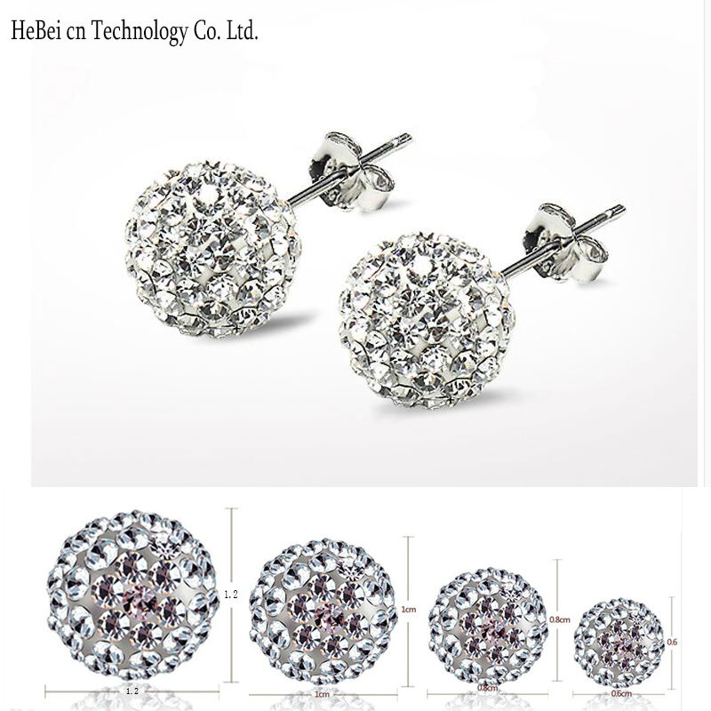 Free Shipping 4 Size 12MM 10MM 8MM 6MM Trendy Brand Earrings Top Quality Ball Cr