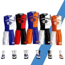 Custom LOGO Number Name Basketball Jersey Short Pants Men's Youth Sleeveless Jerseys Basketball uniform Set цена 2017