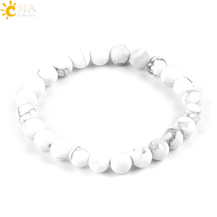 CSJA 8mm Matte Glaze High Quality White Howlite Lucky Gem Stone Mala Beads Strand Bracelets Meditation Men & Women Jewelry P042