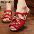 Весна Лето Женщины Тапочки Цветок Вышитые Случайные Женская Обувь Peep Toe Пляж Холст Обувь Дамы Женской Обуви SNE-183