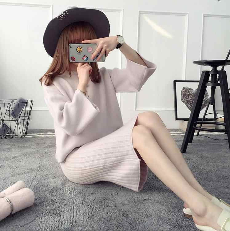 2019 Two Pieces Pullover Slim Women Knitted Sweater For Women Long Tops