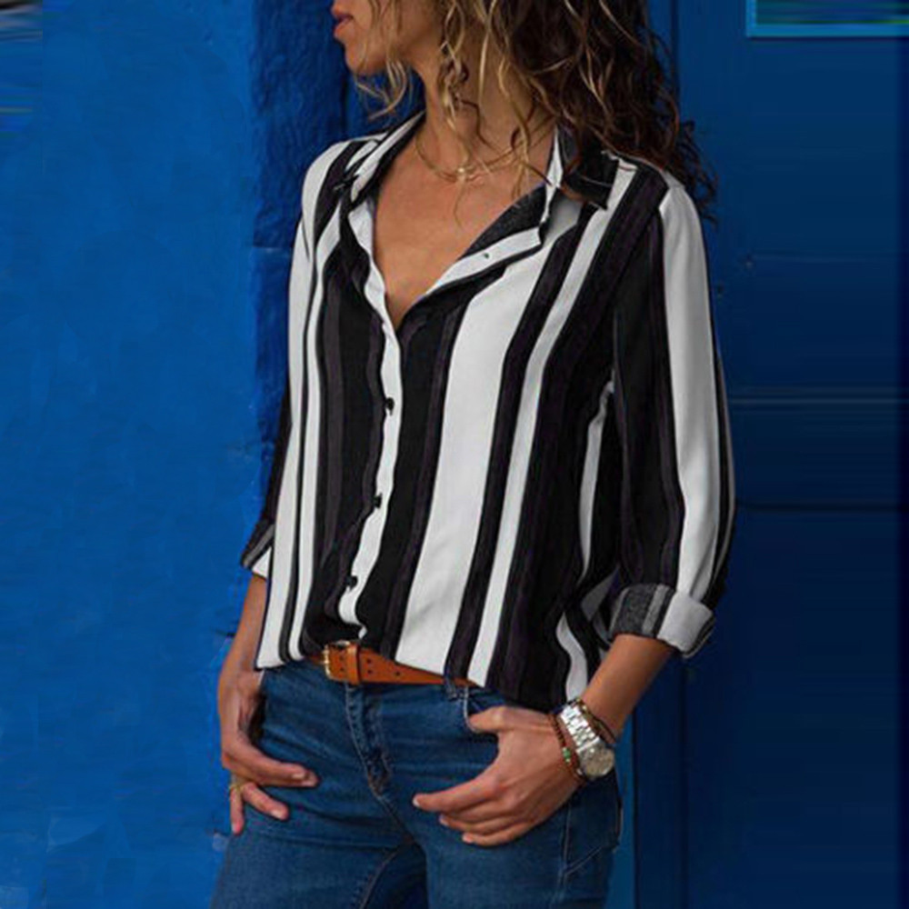 Black Striped   Blouse   Womens Tops And   Blouses   Long Sleeves Women Blusas Mujer De Moda 2019 Spring V Neck   Blouse     Shirt   #T
