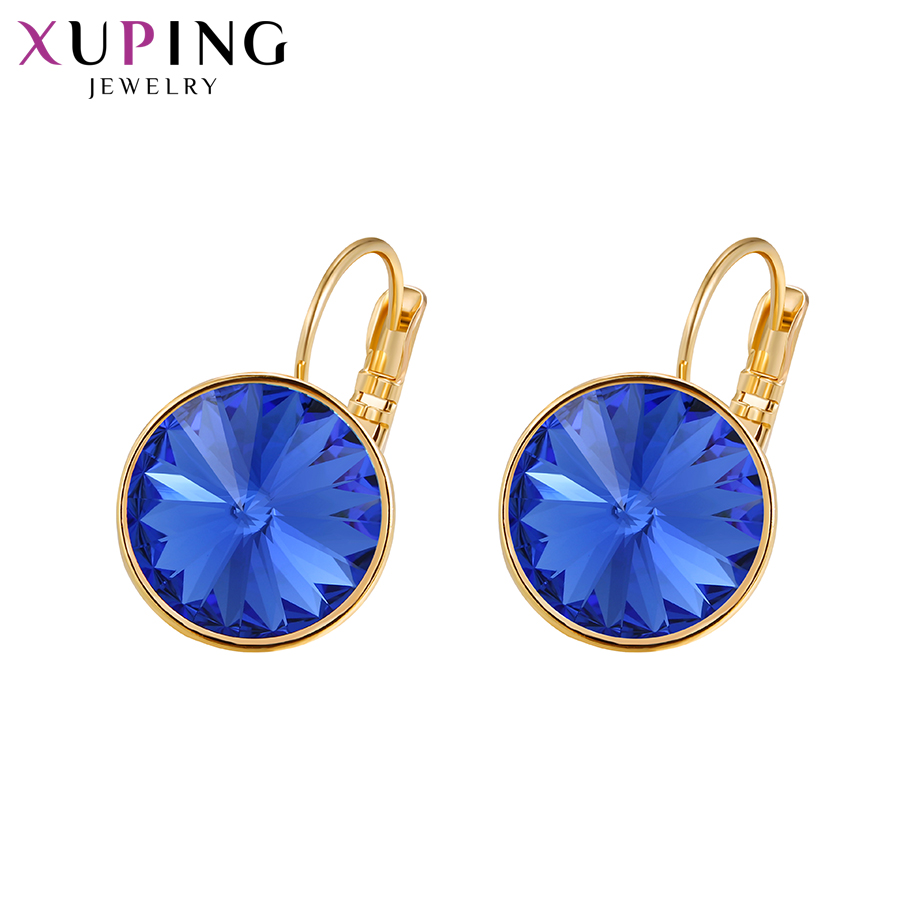 Xupingg Jewelry Lovely Earrings High Quality Crystals from Swarovski Elegant Style for Women Christmas Gift M93 20489 in Hoop Earrings from Jewelry Accessories