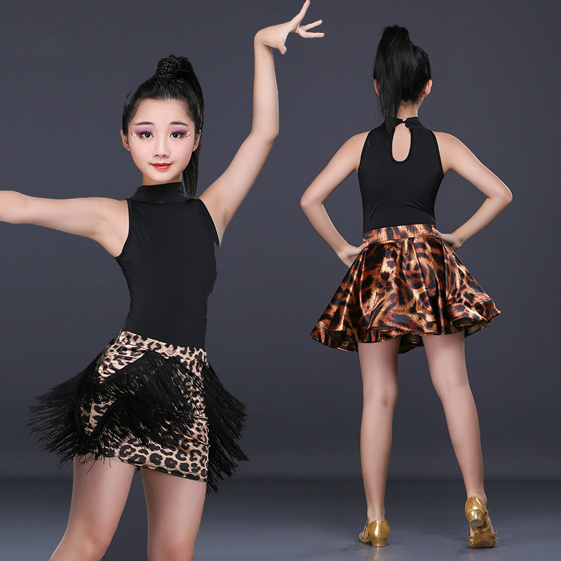 The new Children's Latin skirts and costumes harness race girl leopard fringed skirt girls summer clothing practice