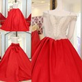 Red 2017 Vestido de Baile Quinceanera Frisada Pedrinhas Off The ombro longo sweet 16 anos vestidos de festa vestido de 15 Anos