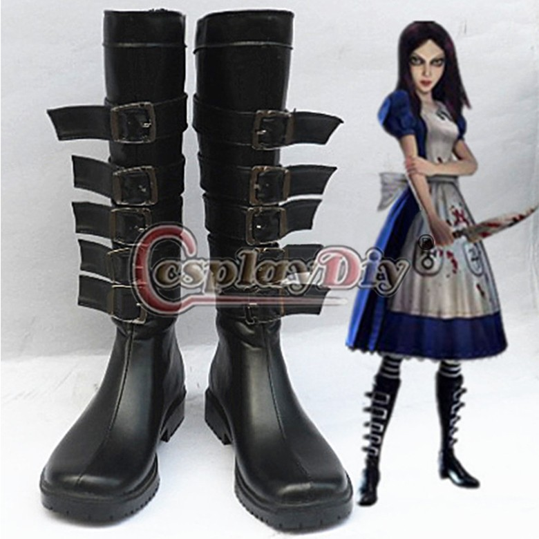 Alice Madness Returns Alice cosplay shoes boots Custom-Made