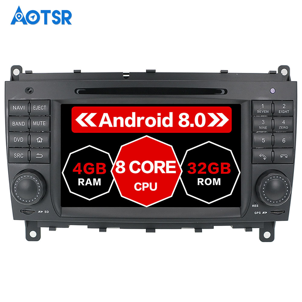 Aotsr Android 8,0 Octa core gps автомобильный dvd плеер с навигацией плеер для Benz W209 W219 мультимедиа радио рекордер, Радио стерео WI FI 2 Din
