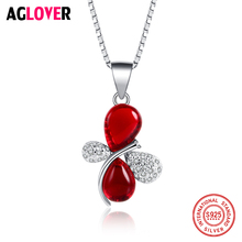 925 Sterling Silver Woman Necklace AAA Red Crystal Butterfly Pendant Female Charm Jewelry
