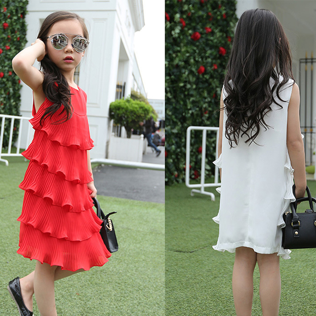 Muchachas de la gasa de las colmenas acodaron vestido poco teenage kids summer girl vestido 2016 blanco rojo midi vestidos largos para la muchacha del cabrito vestido de tirantes