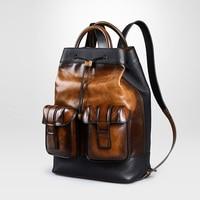 Classic Genuine Leather Backpack Men Multifunction Famous Brand Designer Bag Pack Vintage Laptop Travel Bag 2019