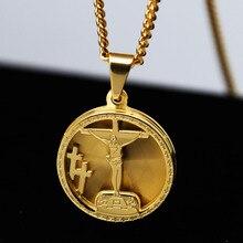 Mens titanium стали крест иисуса пьеса micro круглый медаль подвеска шарм ж/3 мм 24 «кубинский цепи хип-хоп ожерелье