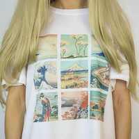 Fashionshow-JF 1 stücke Van Gogh Monet Alphonse Mucha Hokusai Kunst Druck T-shirt Sommer Mode Top Kurzarm Baumwolle frauen T-shirt