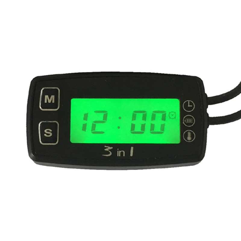 3 in 1 TEMP METER thermometer voltmeter clock temperature SENSOR voltage meter for pit bike motorcycle
