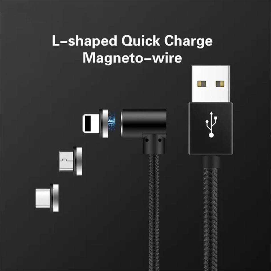 NOHON Elbow Magnetic Fast Charge Cable Lighting Micro USB Type C For iPhone X 7 8 Samsung Universal Phone Magnet Charging Cables (8)