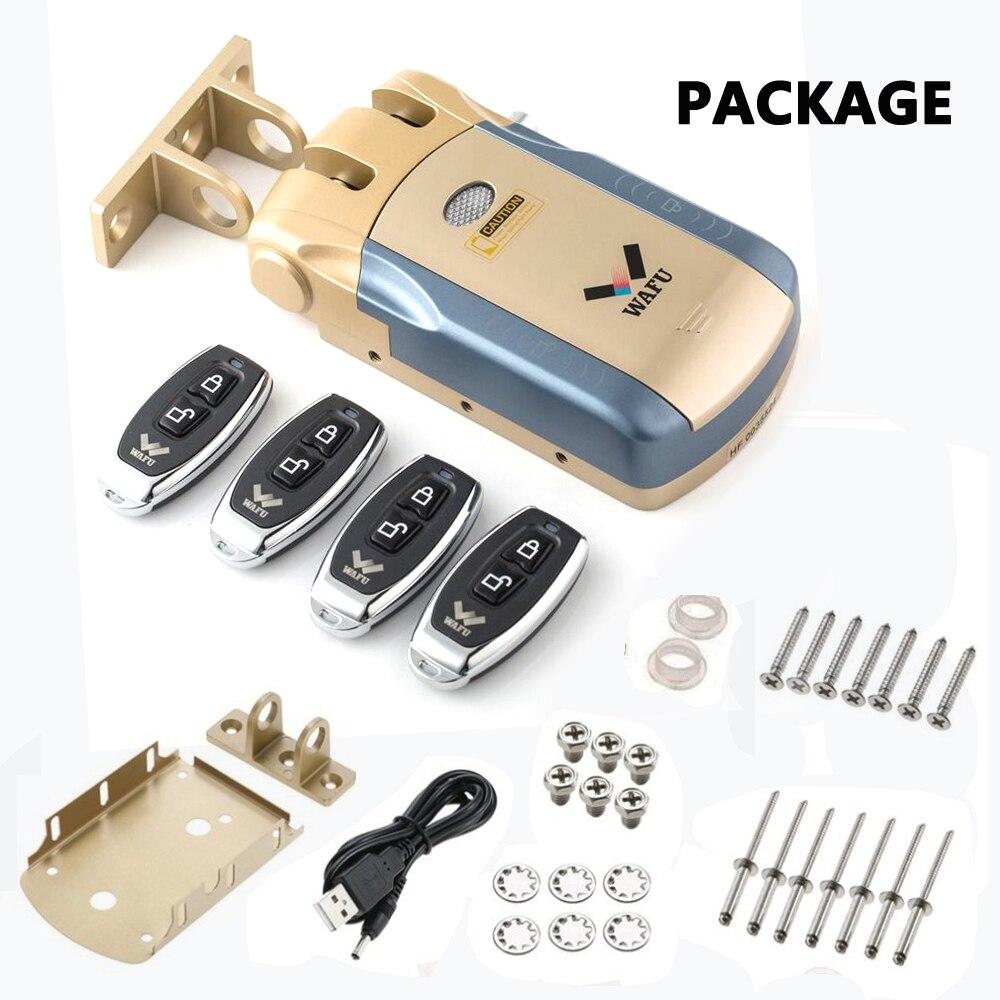 Wafu serrure de porte à distance électronique sans clé sans fil 433 mHZ serrure intelligente Invisible avec avec télécommande 4 clés à distance