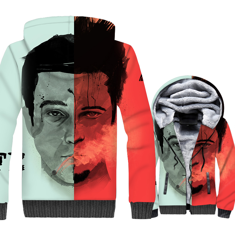Art Jacket Men Hip-Hop Streetwear 3D Hoodie Men Face Hooded Sweatshirt 2018 New Design Winter Thick Fleece Warm Zipper Coat 5XL