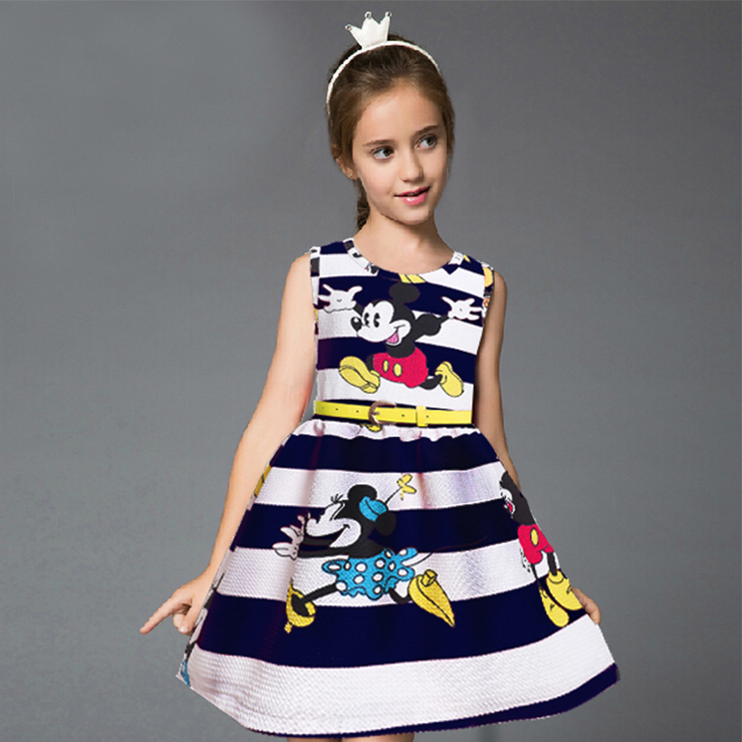 197dc360a899 New Europe Brand 2018 summer girl dress kids clothes baby girls dresses  cute vestidos Cartoon stripes children clothing For 2-6Y