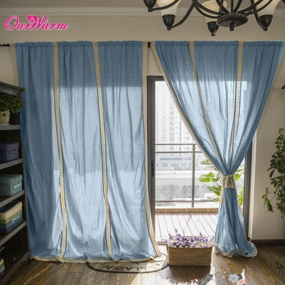 Cotton lace curtains - Three Sizes Linen Lace Crochet Curtain Cotton Valance Drape Hollow Window Lace Stitching Panel Blue
