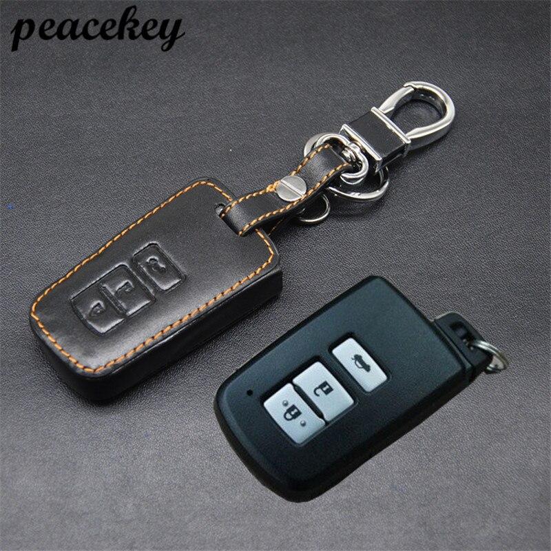Peacekey Натуральная кожа дистанционного Управление Автомобильный Брелок чехол для Toyota Camry 3 пуговицы