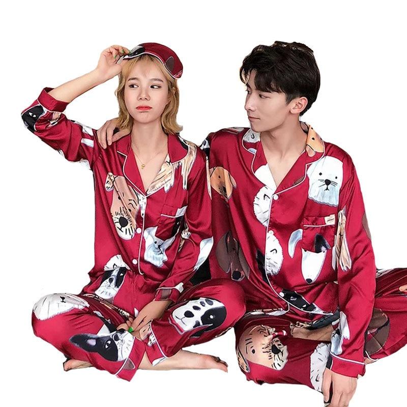 Lovers Pajamas Women Silk Stain Sleepwear Bighead Dog Printed Leisure Women Poplin Pijama Set Turn-down Collar Housewear