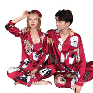 Image 1 - Lovers Pajamas Women Silk Stain Sleepwear Bighead Dog Printed Leisure Women Poplin Pijama Set Turn down Collar Housewear