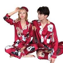 Pijama de seda con estampado de perro, para mujer, cuello vuelto, ropa de casa