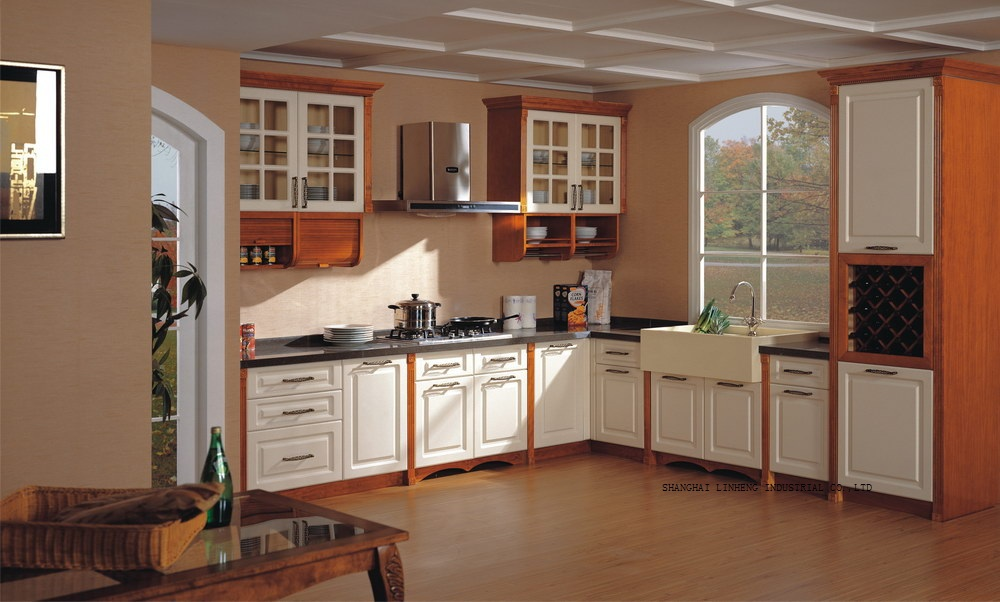 Solid Wood Painting Kitchen Cabinet(LH SW083)
