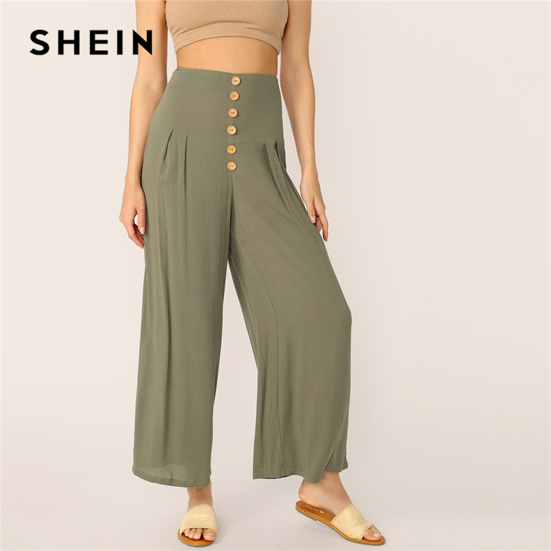SHEIN Boho Green Buttoned   Wide   Waistband Pleated Palazzo   Pants   Women Solid Long Trousers Summer Zip Fly Elegant   Wide     Leg     Pants