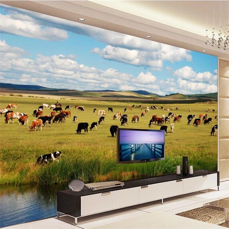 Wellyu Custom Wallpaper 3d Beautiful Grassland Autumn Pasture Scenery Living Room TV Background Living Room Bedroom 3d Wallpaper