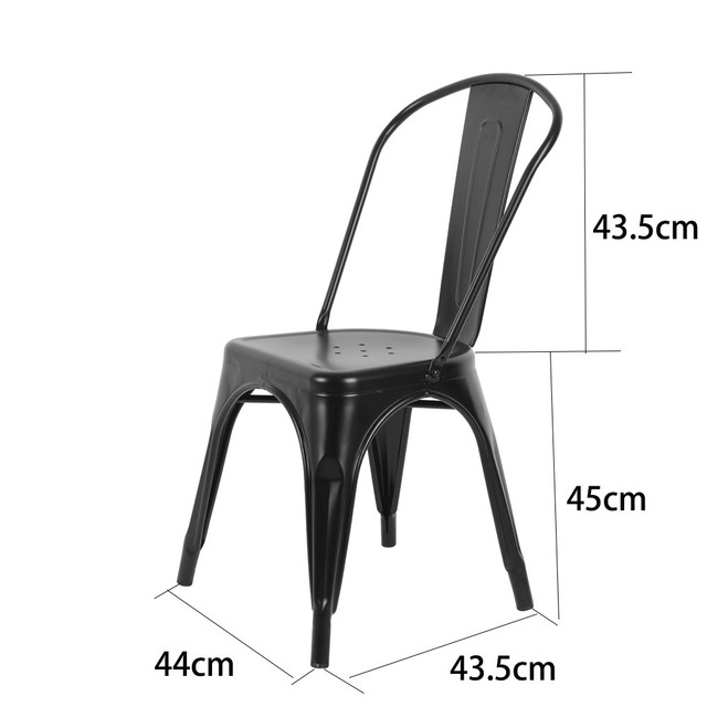 4 Pcs Black Armless Chair Metal Dining Chair Side Chair Living Room Furniture Stock in US