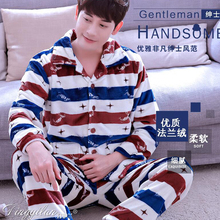 Men's Sleepwear Fall and Winter Thick Warm Plaid Flannel Pajamas Sets Sleep & Lounge Full Sleeve Male Pijamas Hombre HomeWear