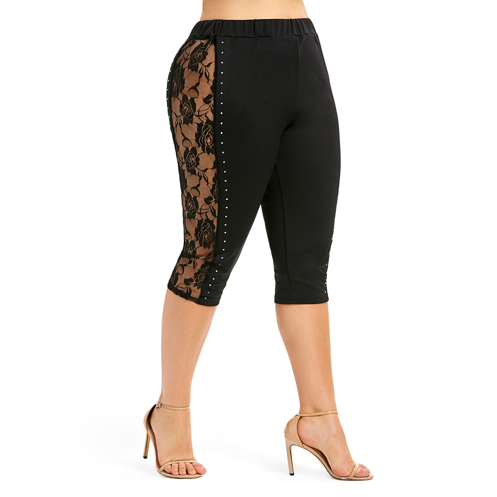 ROSE GAL High Elastic Waist Leggings Women Sexy Plus Size Floral Lace Panel Beading Leggings Female Workout Summer Trousers 5XL