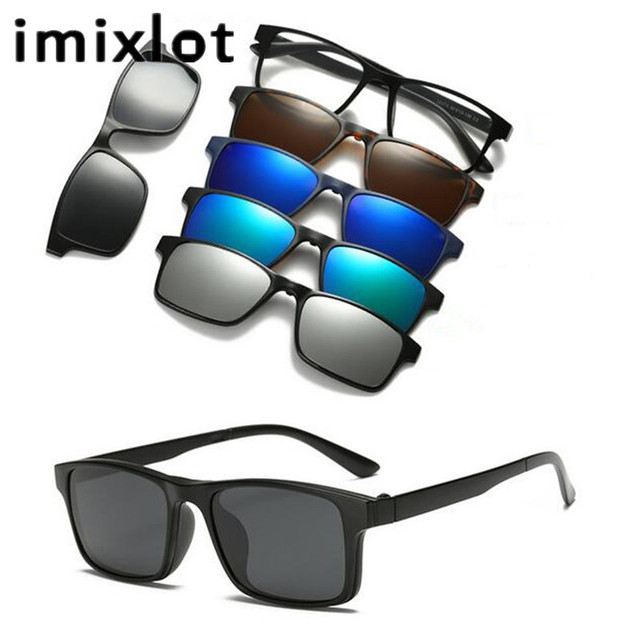 7e0be632a9 IMIXLOT New 5 Lens Polarized Clips Clip on Sunglasses Clip Mirrored  Magnetic Sunglasses Men Custom Prescription Myopia