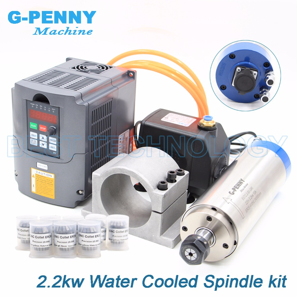 2.2kw водяной охладитель шпинделя комплект ER20 CNC шпиндельный двигатель 80 * 230 и 2.2kw инвертор VFD и 80 мм кронштейн и водяной насос и 8 шт ER20 0.008mm точн...