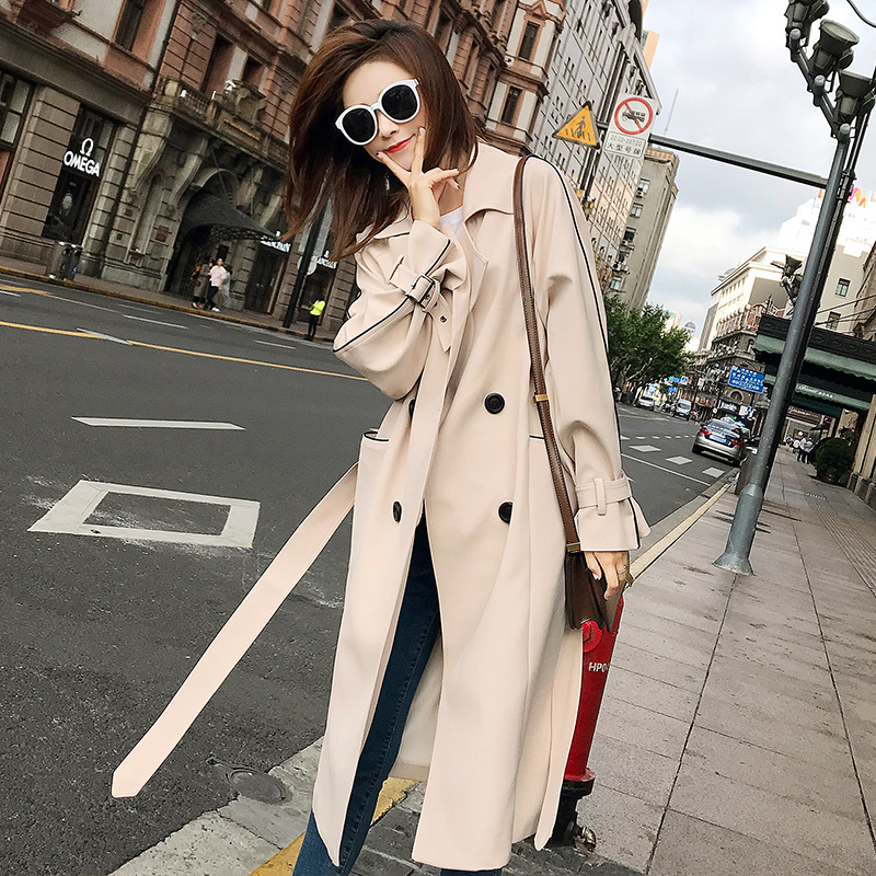 British Design Solid Color classic Style Fashion Women's Double-Breasted Long   Trench   Coat with Belt